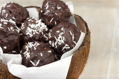Coconut milk rice truffles and a bowl Stock Photo