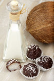 Coconut milk rice truffles and coconut cream Stock Photography