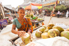 Coconut milk seller Royalty Free Stock Photography