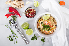 Coconut milk and shrimp asian style pasta Stock Image