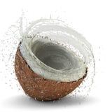 Coconut milk splash Stock Images