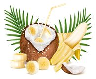 Coconut with milk splash and slices of bananas. Royalty Free Stock Image