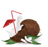 Coconut with milk splash and straw Royalty Free Stock Photos