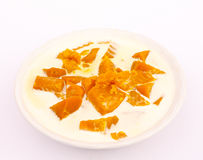 Coconut milk stewed pumpkin. Coconut milk stewed pumpkin in a bowl Royalty Free Stock Photo