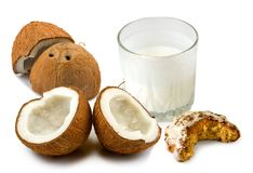 Coconut and milk on a white background Royalty Free Stock Photo