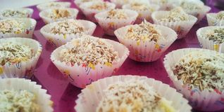 Coconut mini cake. A lot of coconut mini cakes Stock Photography
