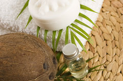 Coconut oil for alternative therapy Stock Photos