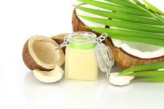 Coconut oil with coconut Royalty Free Stock Image