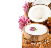 Coconut oil and coconut Royalty Free Stock Photo
