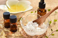 Coconut oil and essential oils Stock Photo