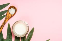 Coconut oil, natural cosmetic top view. Coconut oil with fresh cocnut and tropical leaves, natural cosmetic, flat lay image on pink royalty free stock photos