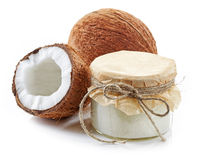 Coconut oil and fresh coconuts Stock Image