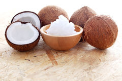 Coconut oil. With fresh coconut - food and drink Royalty Free Stock Photography