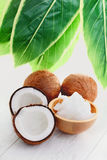 Coconut oil. With fresh coconut - food and drink Stock Photo