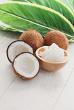 Coconut oil. With fresh coconut - food and drink Royalty Free Stock Photos