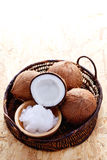 Coconut oil. With fresh coconut - food and drink Royalty Free Stock Photo