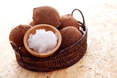 Coconut oil. With fresh coconut - food and drink Royalty Free Stock Image