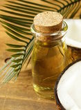 Coconut oil in a glass bottle and nuts Royalty Free Stock Photo