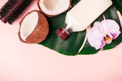 Coconut oil and halves of fresh coconut on a pink background. Hair care spa concept.  stock photography