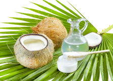 Coconut oil. Liquid and solid coconut oil on palm leaf Royalty Free Stock Photos