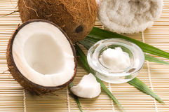Coconut, oil and palm leaf. exotic scene. Open coconut, oil and palm leaf. exotic scene Royalty Free Stock Image