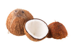 Coconut for oil preparing isolated on white background Royalty Free Stock Image