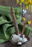 Coconut oil on the spoon Royalty Free Stock Photo