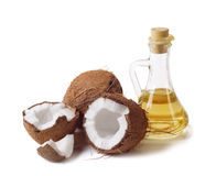 Coconut and oil. On a white background stock images