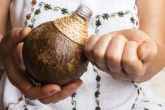 Coconut oil. Woman hands getting coconut oil stock photos