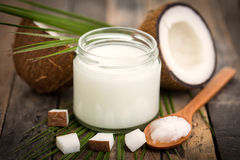 Coconut oil. On the wooden table stock photography