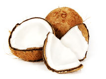 Coconut Open White Background Royalty Free Stock Photos