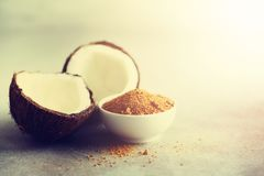 Coconut palm brown sugar and half of coconut fruit on grey concrete background. Copy space.  royalty free stock photos