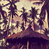 Coconut palm forest and simple leaf roof hut. Palm tree silhouette on sunset sky. Royalty Free Stock Photos