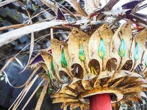 Coconut and palm leaves decoration from a Balinese penjor Stock Photography