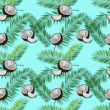 Coconut, palm leaves seamless vector pattern on blue background. Stock Photo