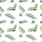 Coconut, palm leaves seamless vector pattern on white background. Royalty Free Stock Photo