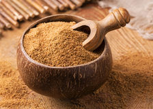 Coconut palm sugar. In a bowl royalty free stock photography