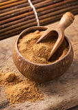 Coconut palm sugar. In a bowl royalty free stock photo