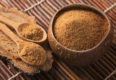 Coconut palm sugar. In a bowl stock photos