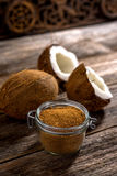 Coconut palm sugar. On rustic wooden background stock photography