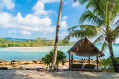 Coconut palm tree on the beach and sea. Beautiful island paradise with coconut palm tree around sea and beach on white cloud and blue sky - Holiday vacation Stock Photo