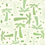 Coconut palm tree silhouette and outline seamless pattern Royalty Free Stock Photo