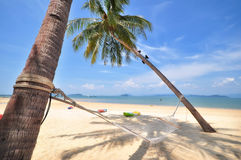 Coconut palm trees with hammock and tropical beach background. At Phayam island in Ranong province, Thailand. Happy summer holiday concept Royalty Free Stock Photos