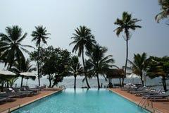 Coconut palms around the pool on the beach Stock Photos