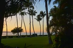 Kaanapali Beach, Maui, Hawaiian Islands. Coconut Palms on Kaanapali Beach silhouetted against a sunset sky, with the island of Lanai in the distance stock photos