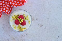 Coconut Panna cotta. Coconut milk panna cotta with raspberry and pistachio Royalty Free Stock Images