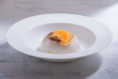 Coconut Panna Cotta. With slices of oranges Stock Photography