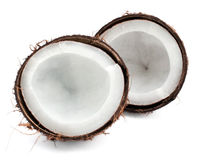 Coconut parts on white Royalty Free Stock Photography