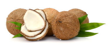 Coconut parts on white background. Two parts of a coconut  on white background Stock Photo