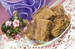 Coconut Pecan Blondies with Feminine Presentation Stock Images